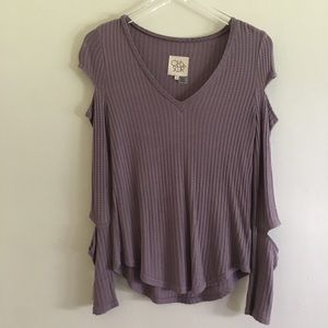 Chaser Waffle Knit Cut Off Long Sleeve Top NWOT S